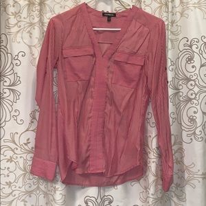 Express long pink/white stripped long sleeve